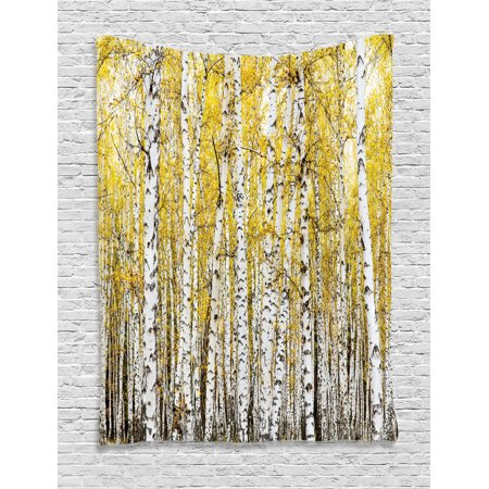 Farm House Decor Wall Hanging Tapestry, Autumn Birch Forest Golden Leaves Woodland October Seasonal Nature Picture, Bedroom Living Room Dorm Accessories, By - Autumn Decor