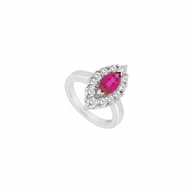Fine Jewelry Vault UBUK755W10CZR-118RS5.5 Created Ruby & Cubic Zirconia Ring 10K White Gold, 1.75 CT - Size 5.5