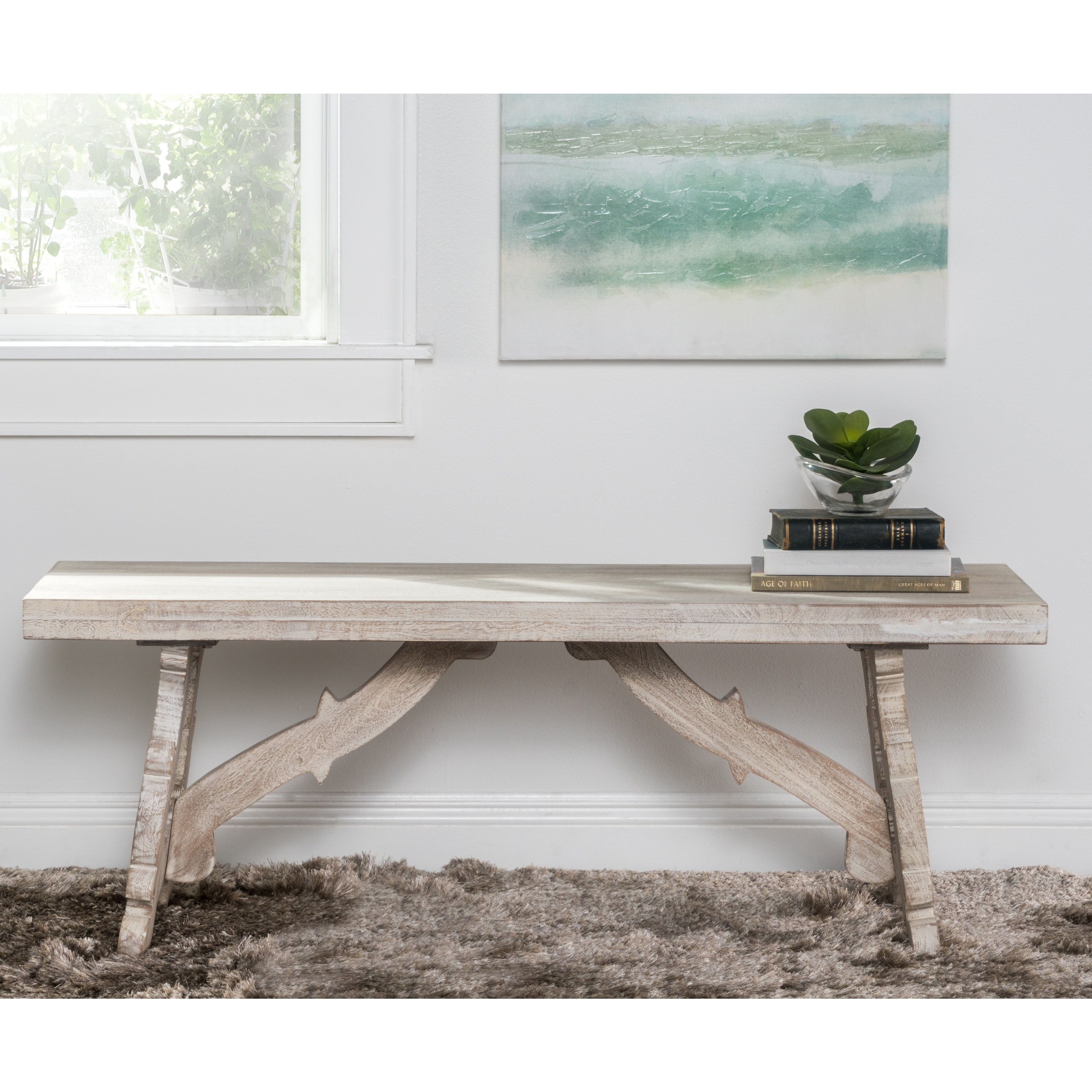 Kosas Home Elliott Rustic Hand Crafted 50 Inch Bench By