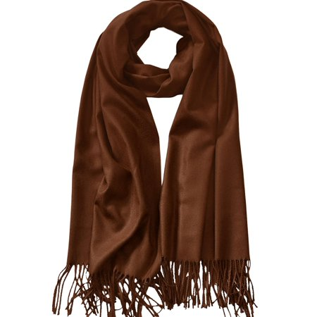MBJ WSK2091 MBJ Shawls and Wraps Elegant Cashmere Scarfs for Women Stylish Warm Blanket Solid Winter Scarves ONESIZE BROWN