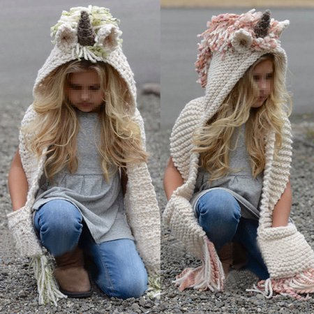 Animal Hats (Hooded Scarf Animal Hoodie Cowl Crochet Knitted Beanie Hat Kids)