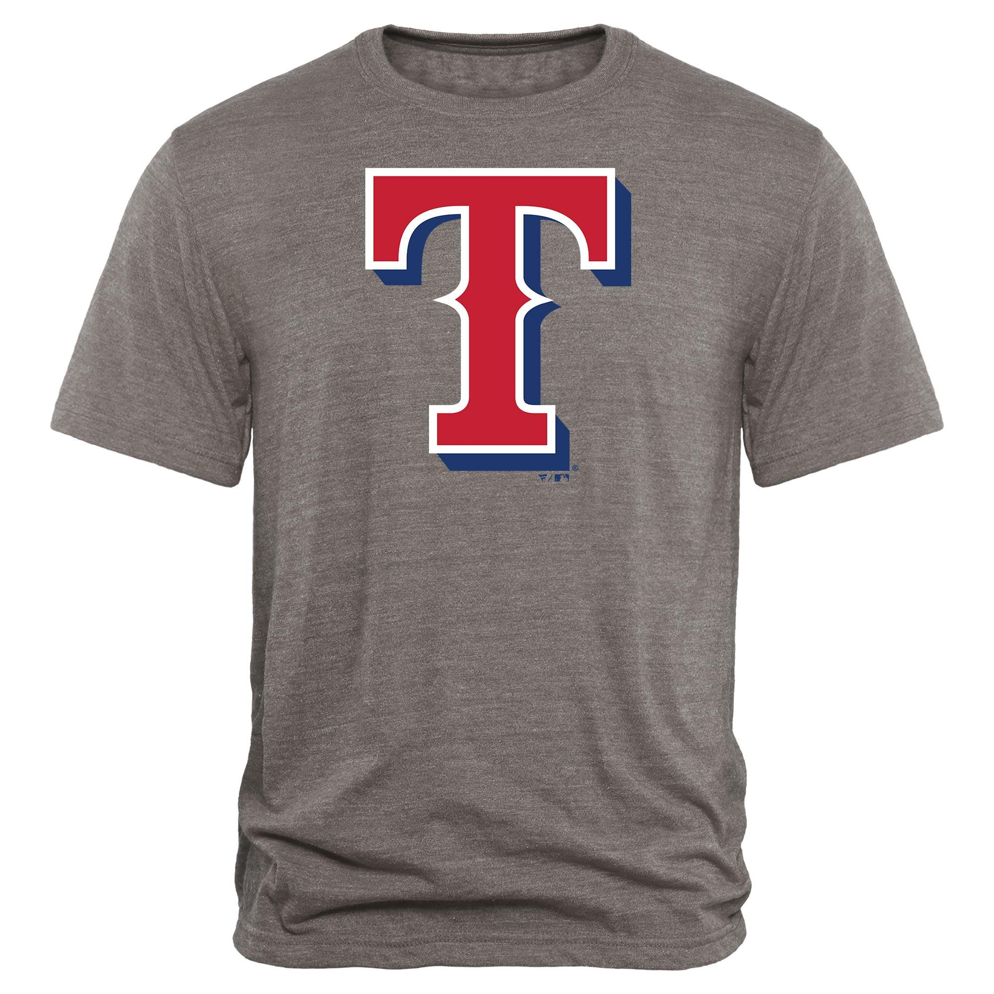 Texas Rangers Rally Primary Logo Tri-Blend T-Shirt - Heathered Gray