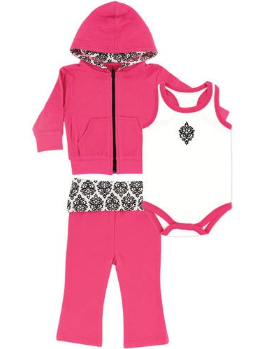 Baby Girl Hoodie, Bodysuit and Pant