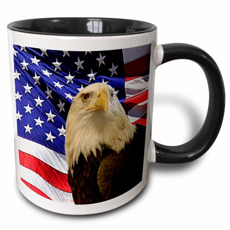 Bald Eagle Steel Mug - 3dRose Bald Eagle and American Flag - Two Tone Black Mug, 11-ounce