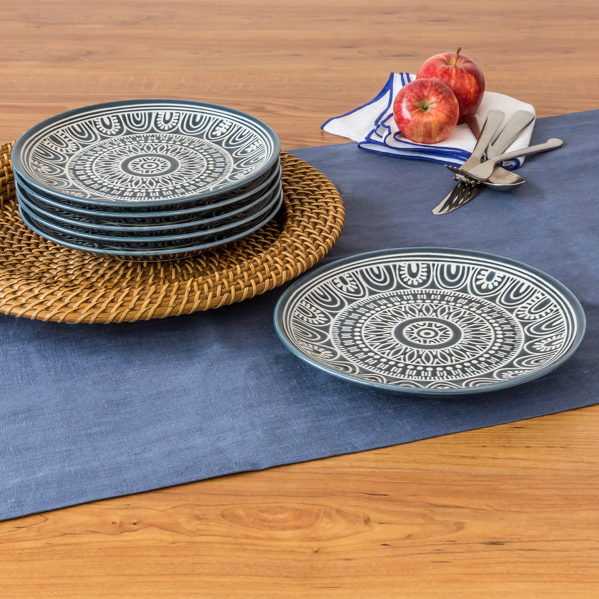Better Homes & Gardens Teal Medallion Salad Plates, Teal, Set of 6