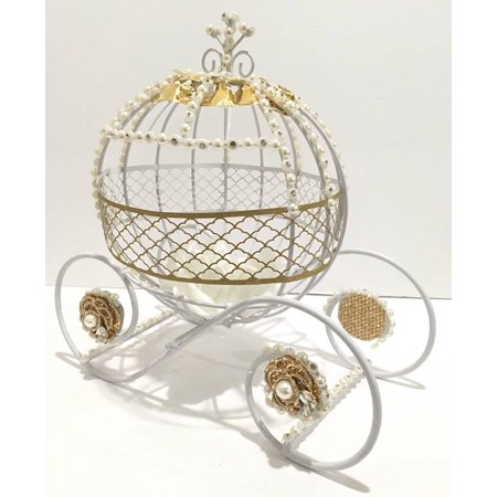 White and Gold Metal Fairytale Cinderella Pumpkin Princess Carriage for Sweet 16 Wedding Quinceanera Wire Centerpiece Coach Carroza De Cenicienta