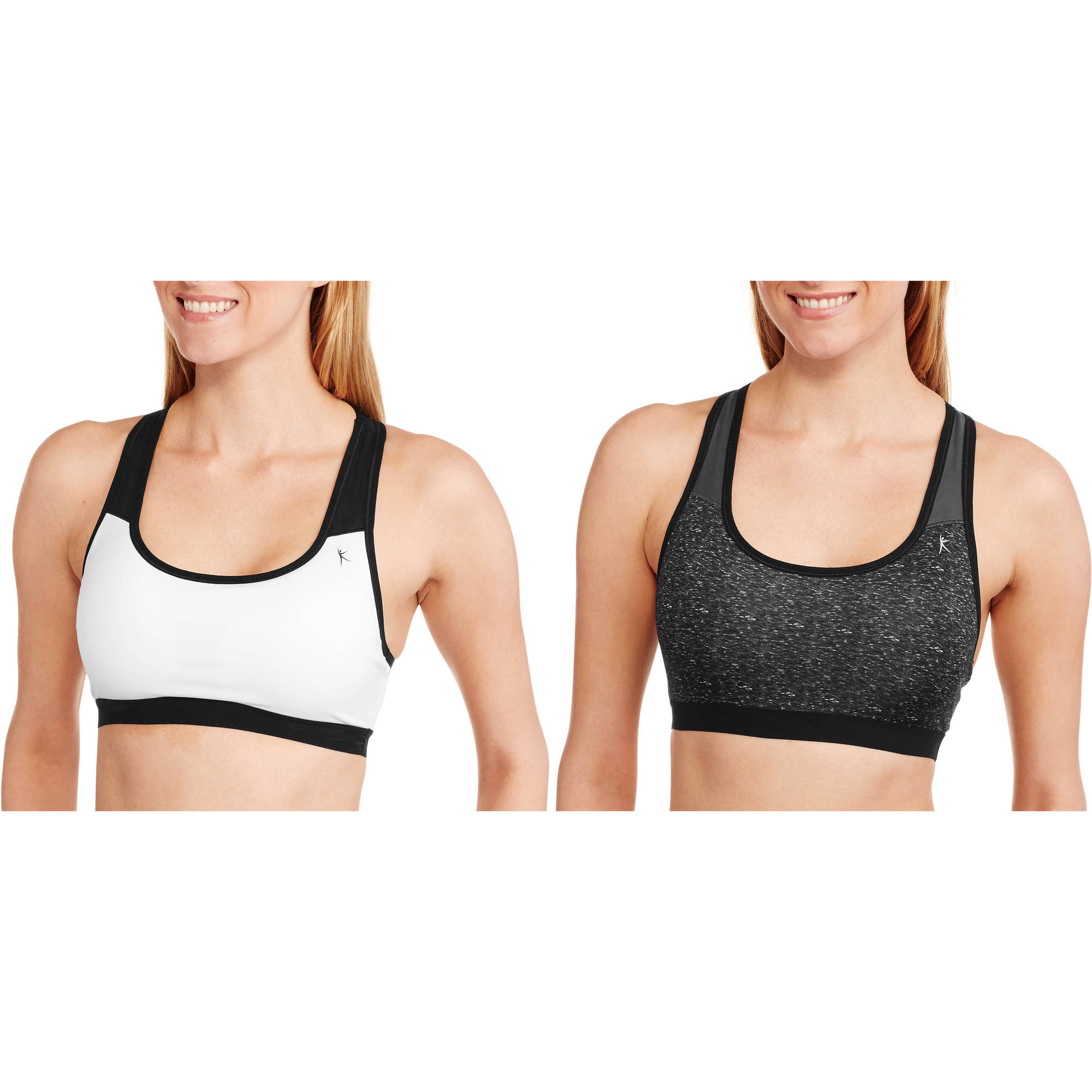 Danskin Now Removeable Foam Cups Sports Bra, Medium Impact, 2 Pack