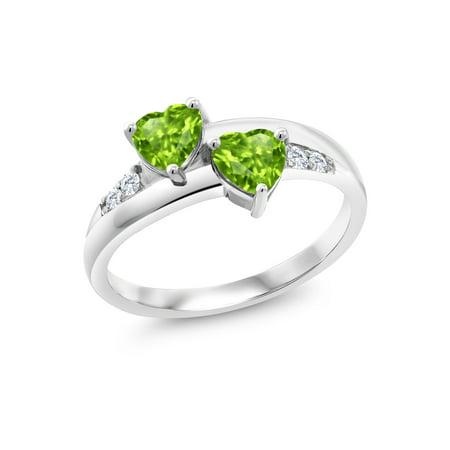 1.08 Ct Heart Shape Green Peridot 925 Sterling Silver Lab Grown Diamond Ring