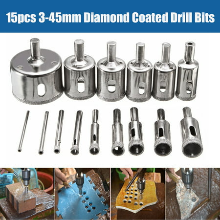 Diamond Hole Saw Drill Bit Set,15 PCS Diamond 3-45mm holesaw Tile Ceramic Glass Porcelain Marble Drill Bit Cutter Metal Tool (15mm Diamond Drill Bit)