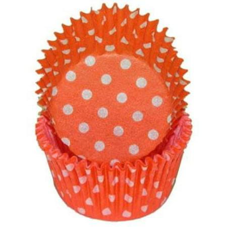 Orange & White Polka Dot - Baking Cupcake Liners - 50 Count - Purple Polka Dot Cupcake Liners