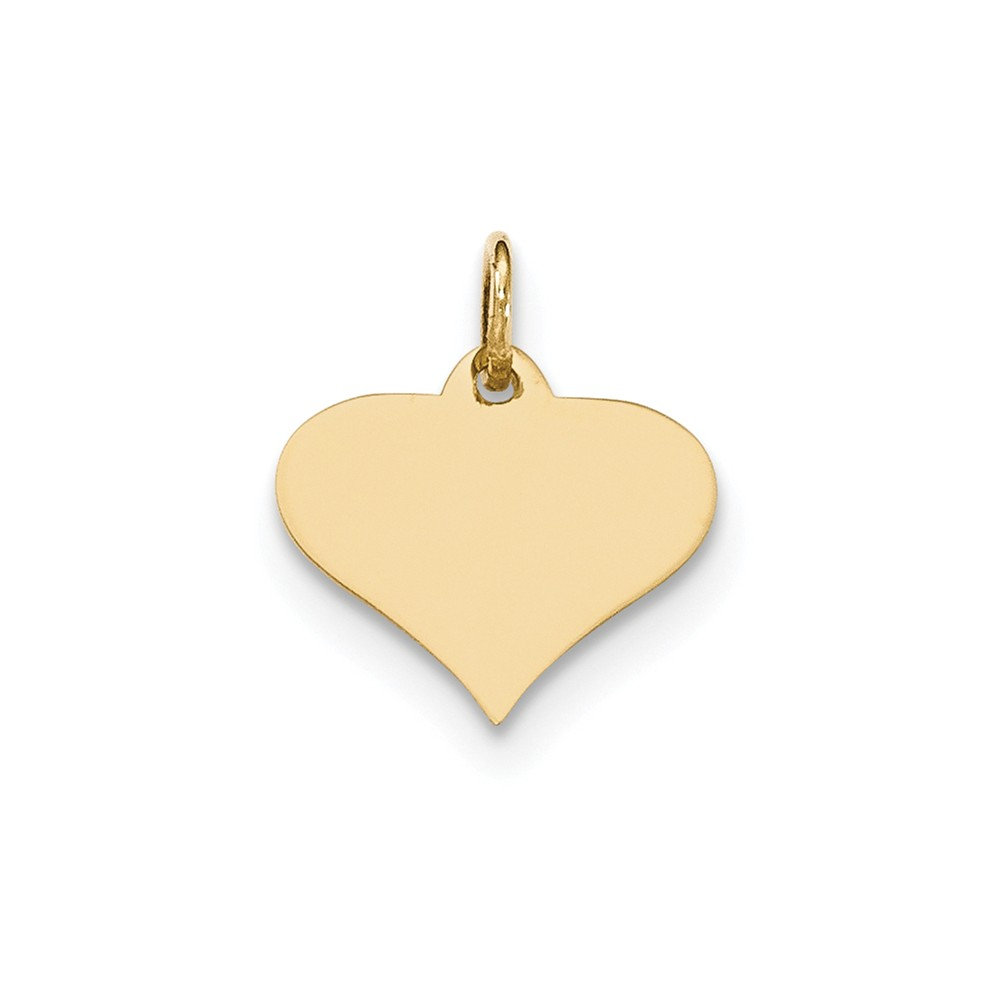 14k Yellow Gold Plain .009 Gauge Engravable Heart Disc Charm