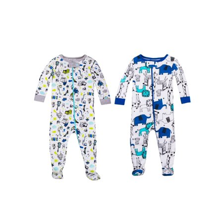 Stretch Soft Footbed - Little Star Organic 100% organic cotton footed stretchies pajamas, 2-pack (baby boys & toddler boys)