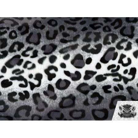 Velboa Faux Fake Fur Gray and White Leopard (Leopard Fur Fabric)