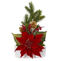 Poinsettia, Berry and Pine Artificial Arrangement in White Vase