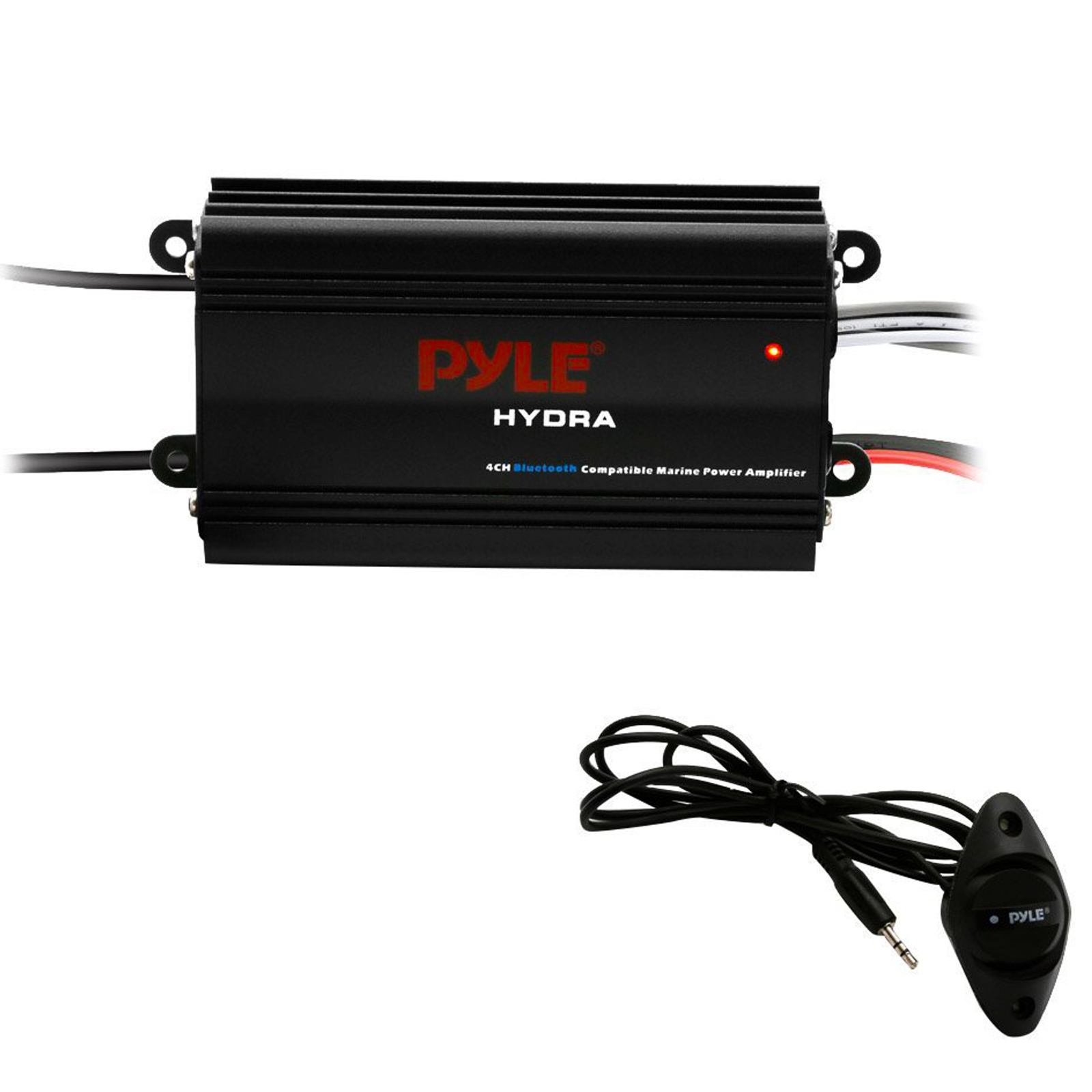 Pyle Auto 4-Channel Bridgeable Marine Amplifier - 200 Watt RMS 4 OHM Full Range Stereo with cordfree BT & Powerful Prime Speaker - High Crossover HD Music Audio Multi Channel System