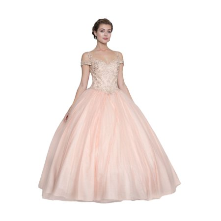 Calla Collection Womens Blush Pink Tulle Quinceanera Ball Dress