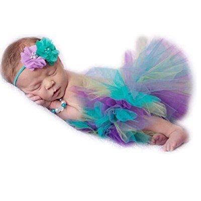 newborn baby photo shoot props girl boy lovely costume rainbow tutu dress flower headband photography - Baby Girl Rainbow Dress