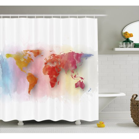 World Map Shower Curtain Watercolor Map Of The World With Vibrant