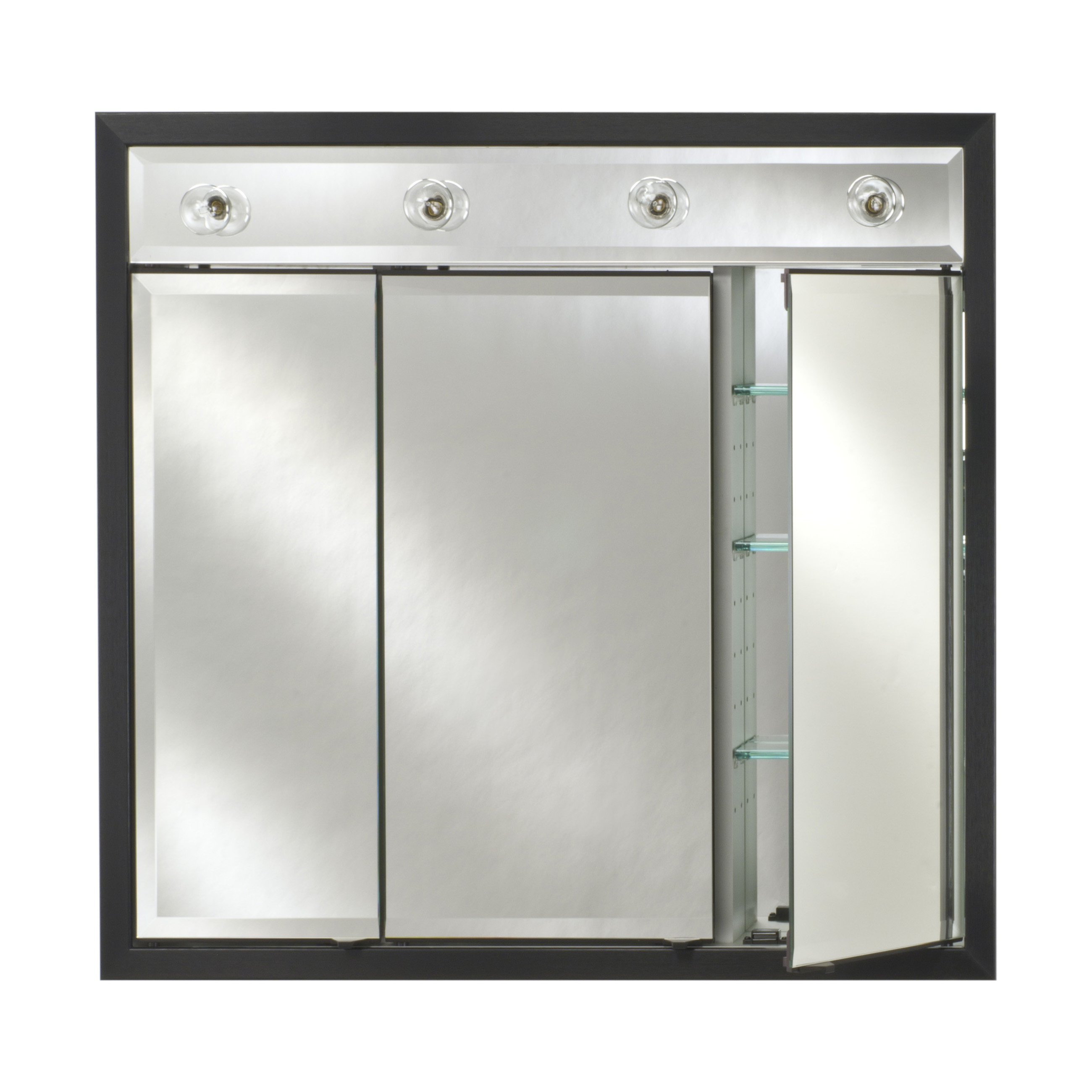 Afina Signature Contemporary Lighted Triple Door 44W x 34H in. Recessed Medicine Cabinet