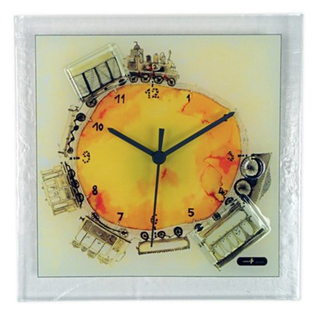 River City Clocks Square Glass Wall Clock with Train - 10.25W x 10.25H in. ()