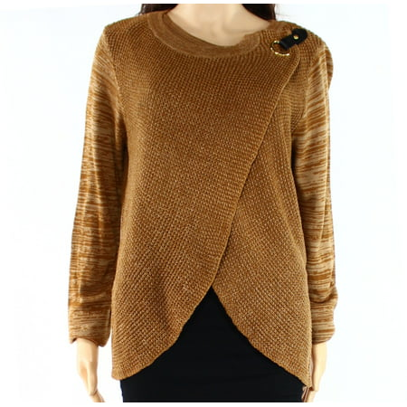 - INC NEW Ginger Brown Womens Size Large L Knit Layered Crew Neck Sweater