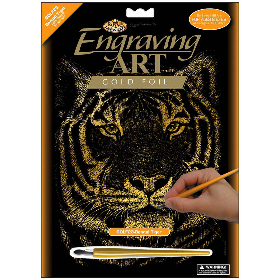 Royal Engraving Art Kit: Gold Foil, Bengal Tiger, 8 x 10 inches