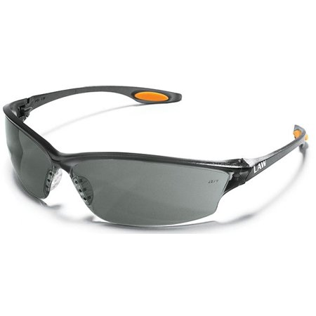 Crews LW212AF Law 2 Safety Glasses With Smoke Nylon Frame, Gray Polycarbonate Duramass Anti-Fog Anti-Scratch Lens And TPR Nose Pad And Orange Temple Sleeve (1/PR) ()