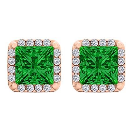 Emerald CZ Square Halo Stud Earrings in 14K Rose Gold - image 1 de 2