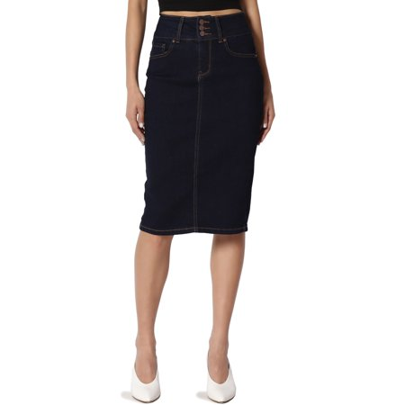 TheMogan Women's Butt Shaping Indigo Jean Pencil Knee Stretch Denim Midi Knee Skirt