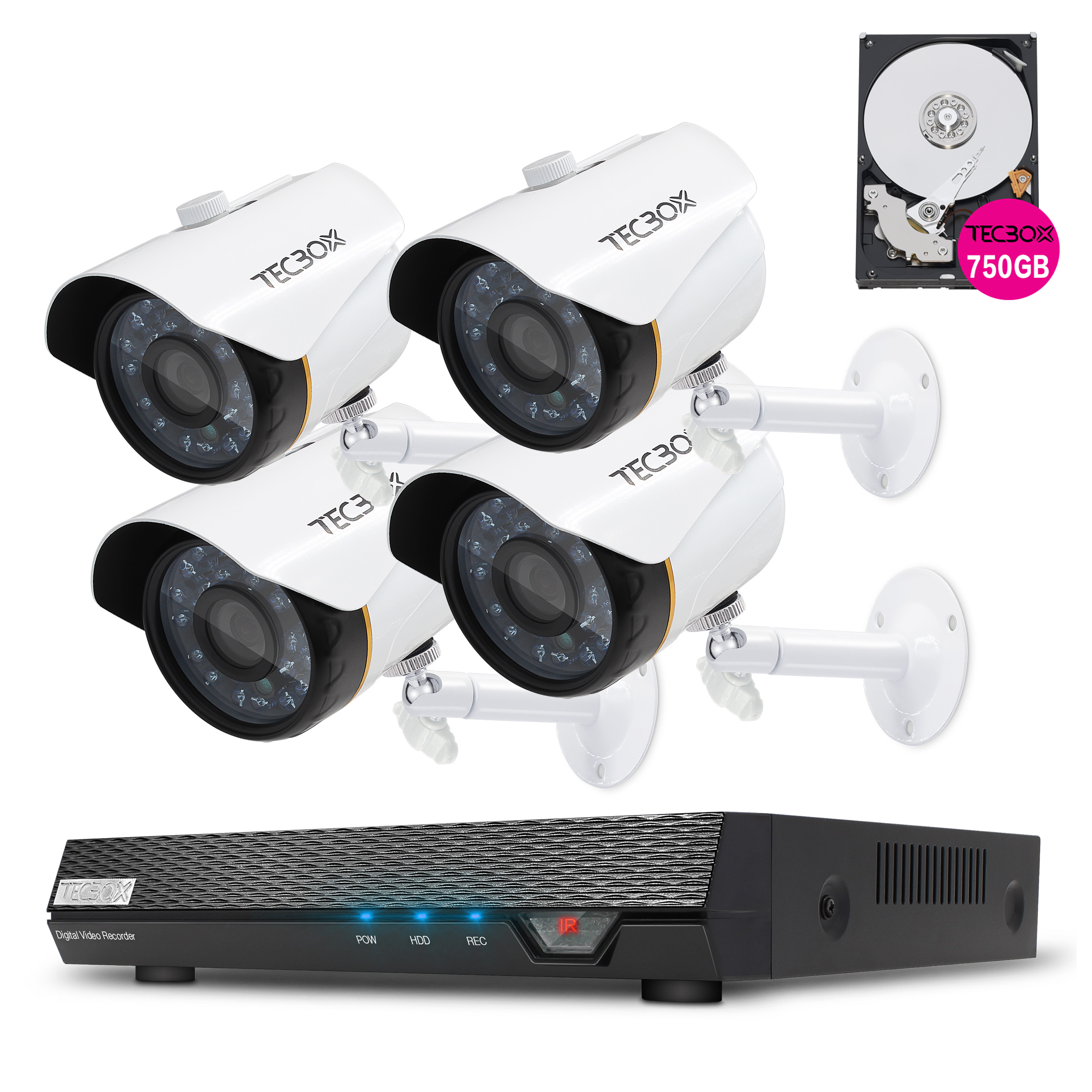 Tecbox 4 Channel Home Security Camera System HDMI AHD Video Recorder DVR 2.0MP 720P IP66 Indoor/Outdoor 65ft Night Vision Surveillance System 750GB HDD Pre-installed