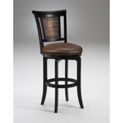 """Hillsdale Cecily 30.5"""" Faux Leather Bar Stool in Black Honey"""
