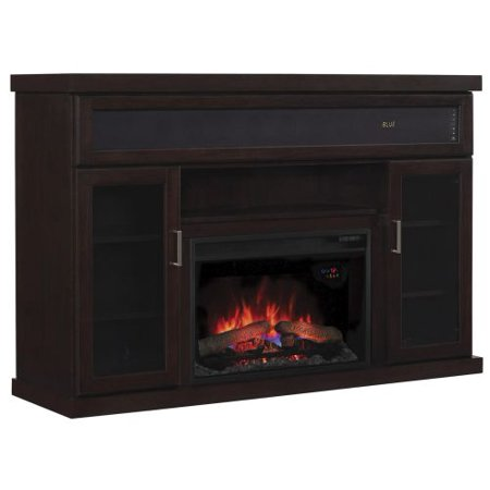 Tenor TV Stand w/ Speakers and 25″ Curved IR Qrtz. Fireplace, Espresso