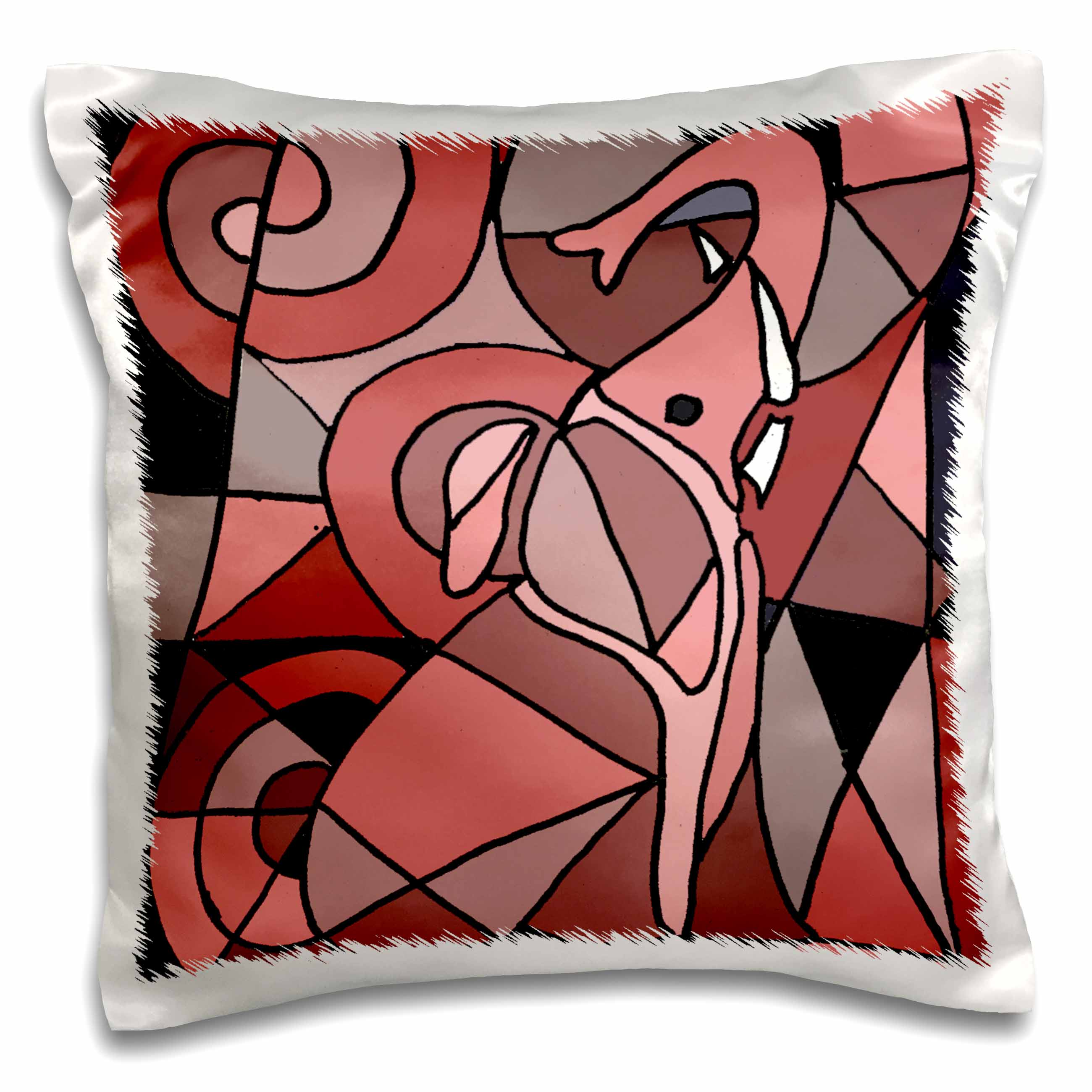 3dRose Fun Pink Elephant Abstract Art Original, Pillow Case, 16 by 16-inch