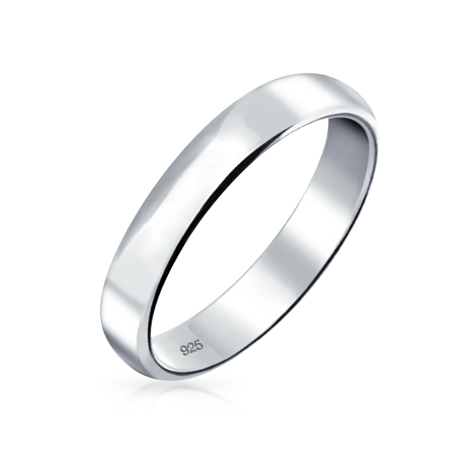 It is just an image of Minimalist Plain Simple 466 Sterling Silver Dome Couples Wedding Band Ring For Women For Men 46MM