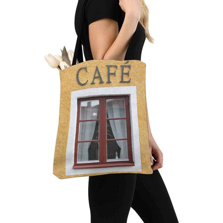 HATIART Funny Coffee Shop Window with Cafe Sign Canvas Tote Bags Reusable Shopping Bags Grocery Bags Party Supply Bags for Women Men Kids - image 3 of 3