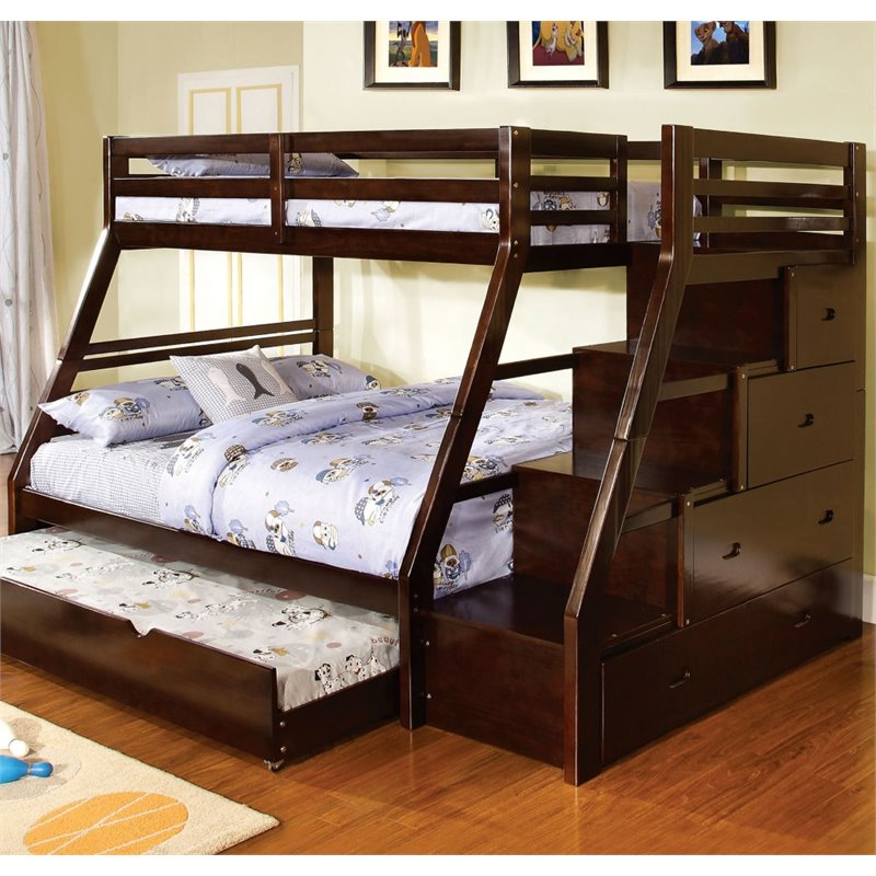 Bowery Hill Twin over Full Storage Bunk Bed in Walnut