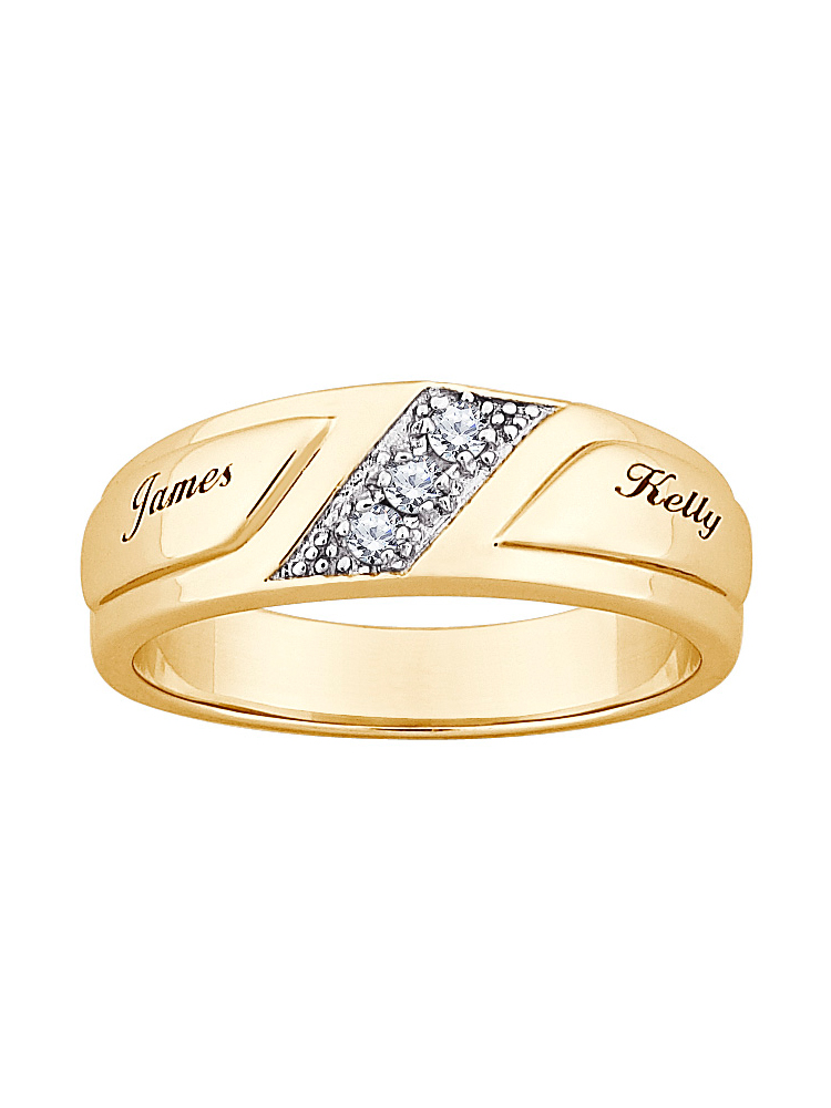 Personalized 18kt Gold-Plated Cubic Zirconia Wedding Band