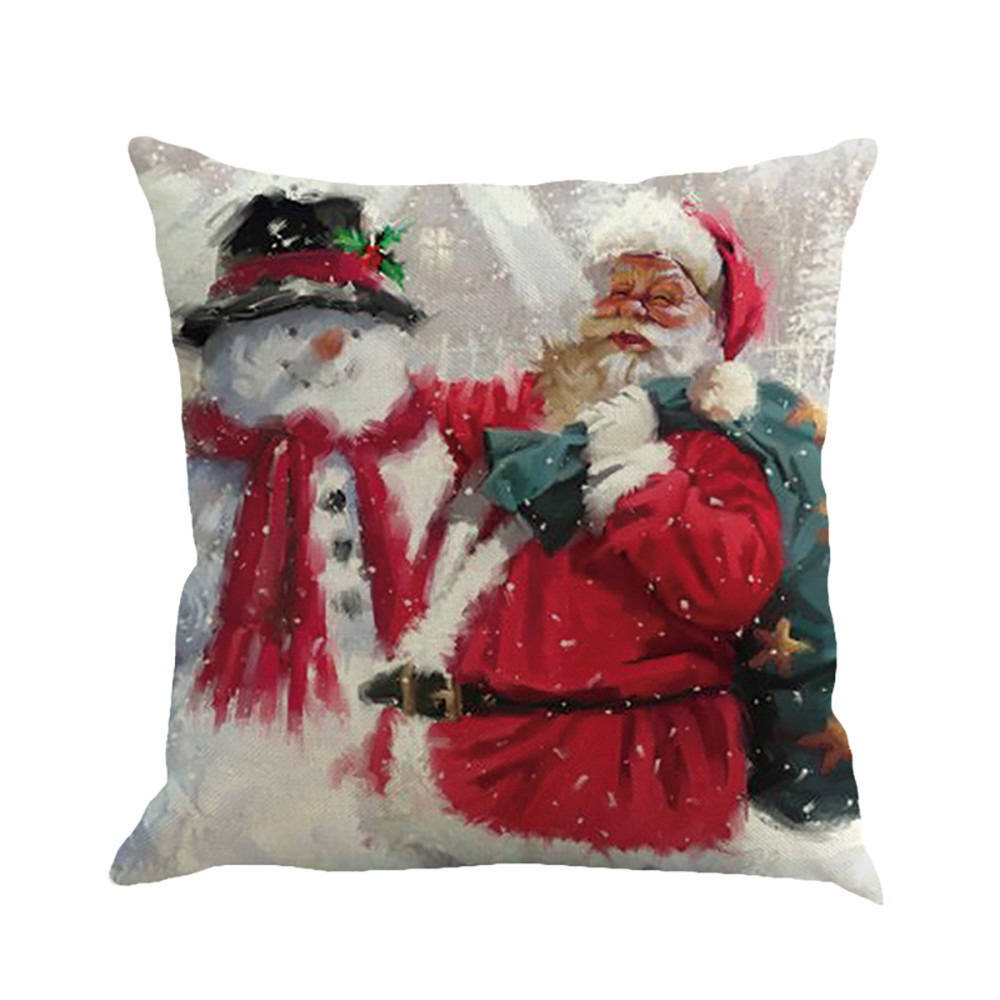 Christmas Santa Claus Printing Dyeing Sofa Bed Home Decor Pillow Cover Cushion Cover by
