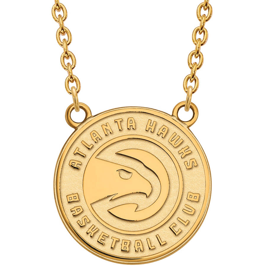 LogoArt NBA Atlanta Hawks 10kt Yellow Gold Large Pendant with Necklace