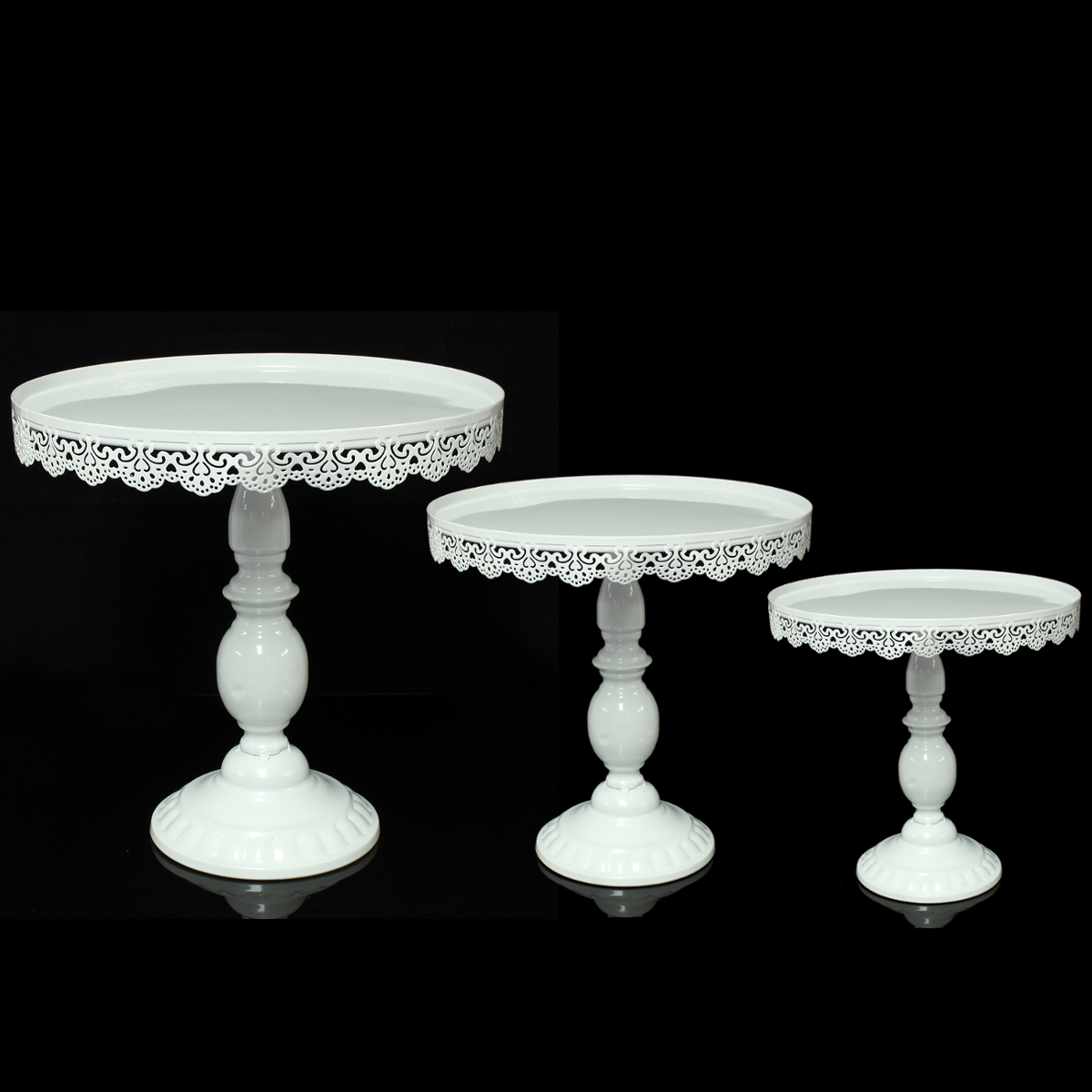 3 Size Vintage Round Cake Dessert Stand Display Metal Lace Wedding Party Decor