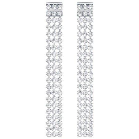 Swarovski Fit Long Pierced Earrings White Palladium Plating 5293087
