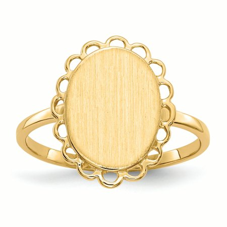 14K Yellow Gold 2 MM Oval Engravable Signet Ring, Size 6