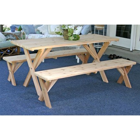 Outstanding Backyard Bash Picnic Table W 2 Detached Benches 48 In Customarchery Wood Chair Design Ideas Customarcherynet