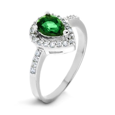 Sterling Silver Emerald Green Pear-Cut Cubic Zirconia Halo Ring