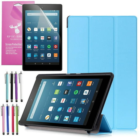 All New Amazon Fire Hd 8 Case  2016 6Th Gen   Epicgadget Tm  Auto Sleep   Wake Premium Leather Folding Folio Case For Fire Hd 8  8  Hd Display Tablet   Fire Hd 8 Screen Protector  Light Blue