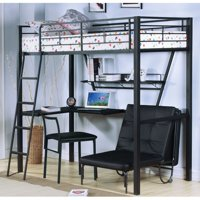 Acme Senon Loft Bed with Desk in Silver and Black