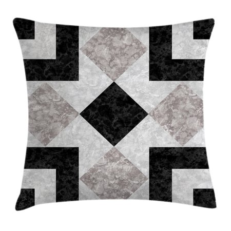 24 Inch Marble Mosaic - Apartment Decor Throw Pillow Cushion Cover, Nostalgic Marble Stone Mosaic Regular Design with Alluring Elements Image, Decorative Square Accent Pillow Case, 24 X 24 Inches, Black Beige, by Ambesonne