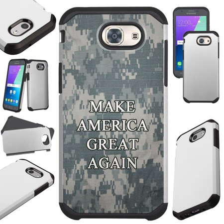 For Samsung Galaxy J7 (2017) / J7V J7 V / J7 Sky Pro / J7 Perx / J7 Prime / Galaxy Halo Case Hybrid TPU Fusion Phone Cover (Make America Great Again Camouflage)