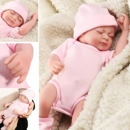 NPK 11'' Realistic Lifelike Realike Sweet Dream Newborn Reborn Girl Doll Shower Toy Silicone Vinyl Handmade Kid Pretend Role Play Toy Weighted Alive Doll with Clothes