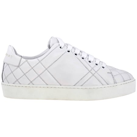 Burberry Ladies Lace Up House Check White Quilt Sneakers (Burberry Shoes Kids)